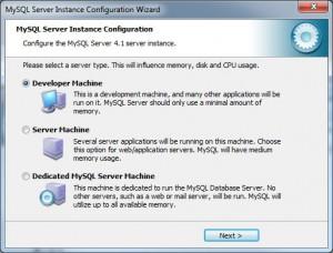 MySQL Installationstyp